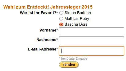So simpel ist das Formular, das Sash glücklich macht! Quelle: amazon.de