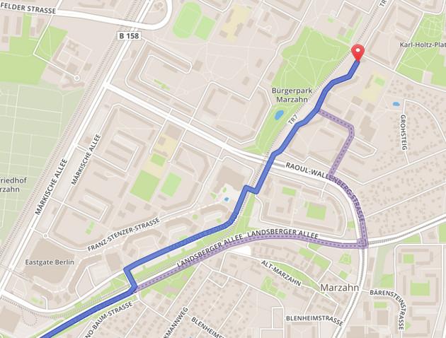 Meine Strecke blau, die der Kundin violett. Quelle: osrm.at