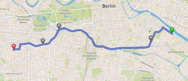 """Die wohl von der Kundin präferierte Route """"einfach geradeaus"""". Quelle: osrm.at"""